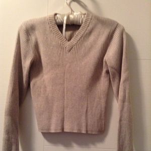 Club Monaco Oatmeal Sz S V Neck cropped sweater